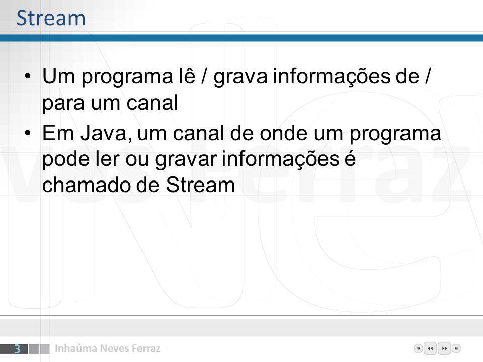 Um programa lê / grava informações de / para um canal Em Java, um canal de onde um programa pode ler ou gravar informações é chamado de Stream Stream