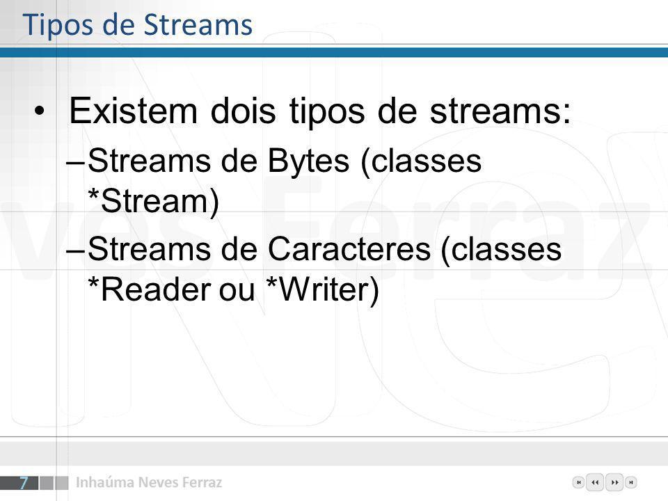 Existem dois tipos de streams: –Streams de Bytes (classes *Stream) –Streams de Caracteres (classes *Reader ou *Writer) Tipos de Streams 7