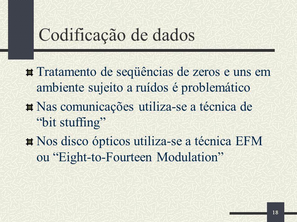18 Codificação de dados Tratamento de seqüências de zeros e uns em ambiente sujeito a ruídos é problemático Nas comunicações utiliza-se a técnica de bit stuffing Nos disco ópticos utiliza-se a técnica EFM ou Eight-to-Fourteen Modulation