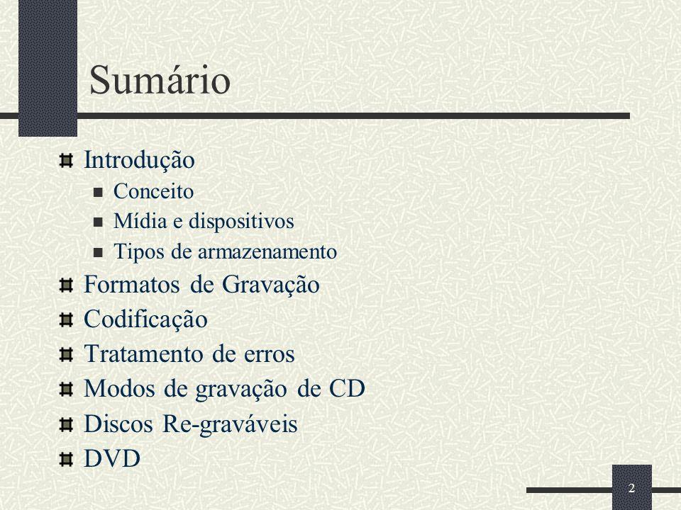 2 Sumário Introdução Conceito Mídia e dispositivos Tipos de armazenamento Formatos de Gravação Codificação Tratamento de erros Modos de gravação de CD Discos Re-graváveis DVD