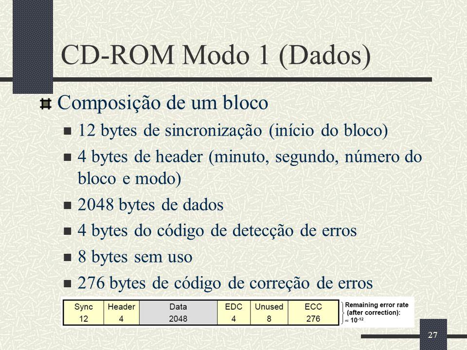 27 CD-ROM Modo 1 (Dados) Composição de um bloco 12 bytes de sincronização (início do bloco) 4 bytes de header (minuto, segundo, número do bloco e modo) 2048 bytes de dados 4 bytes do código de detecção de erros 8 bytes sem uso 276 bytes de código de correção de erros