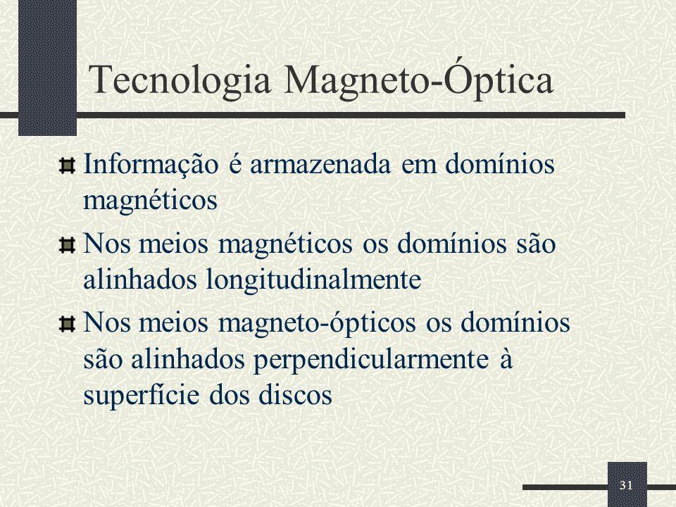 31 Tecnologia Magneto-Óptica Informação é armazenada em domínios magnéticos Nos meios magnéticos os domínios são alinhados longitudinalmente Nos meios magneto-ópticos os domínios são alinhados perpendicularmente à superfície dos discos