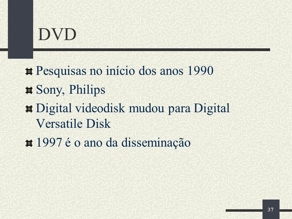 37 DVD Pesquisas no início dos anos 1990 Sony, Philips Digital videodisk mudou para Digital Versatile Disk 1997 é o ano da disseminação