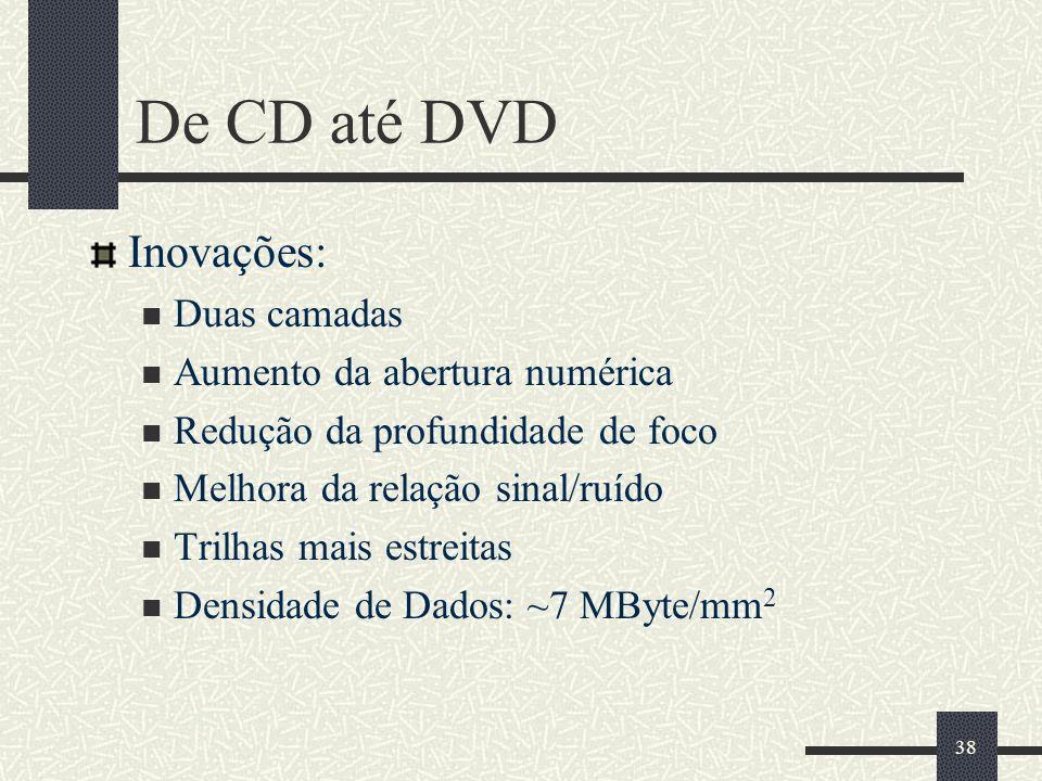 38 De CD até DVD Inovações: Duas camadas Aumento da abertura numérica Redução da profundidade de foco Melhora da relação sinal/ruído Trilhas mais estreitas Densidade de Dados: ~7 MByte/mm 2
