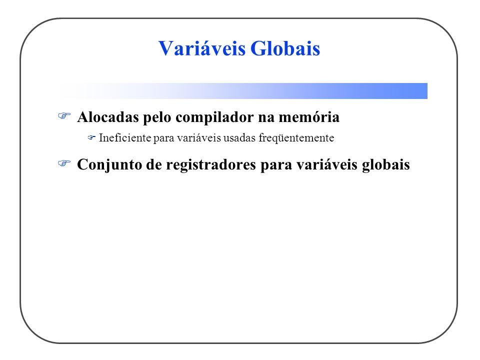 Variáveis Globais Alocadas pelo compilador na memória Ineficiente para variáveis usadas freqüentemente Conjunto de registradores para variáveis globais