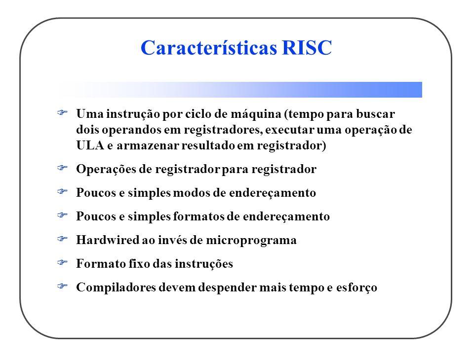 Características RISC Uma instrução por ciclo de máquina (tempo para buscar dois operandos em registradores, executar uma operação de ULA e armazenar resultado em registrador) Operações de registrador para registrador Poucos e simples modos de endereçamento Poucos e simples formatos de endereçamento Hardwired ao invés de microprograma Formato fixo das instruções Compiladores devem despender mais tempo e esforço