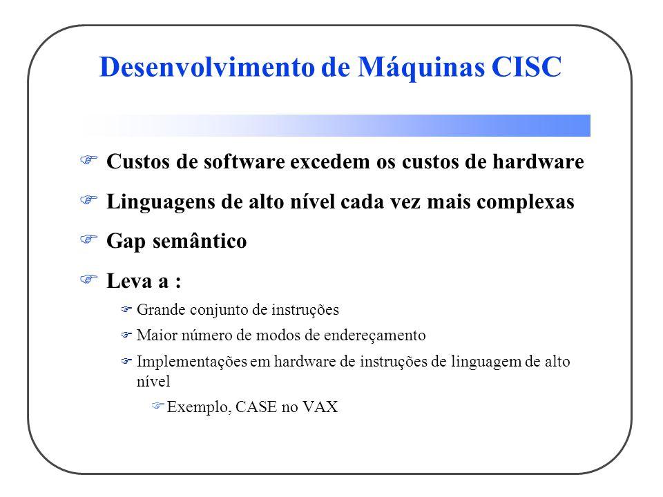 Desenvolvimento de Máquinas CISC Custos de software excedem os custos de hardware Linguagens de alto nível cada vez mais complexas Gap semântico Leva a : Grande conjunto de instruções Maior número de modos de endereçamento Implementações em hardware de instruções de linguagem de alto nível Exemplo, CASE no VAX