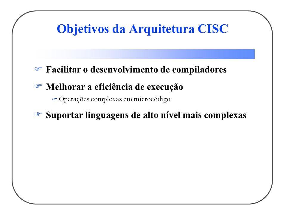 Objetivos da Arquitetura CISC Facilitar o desenvolvimento de compiladores Melhorar a eficiência de execução Operações complexas em microcódigo Suportar linguagens de alto nível mais complexas