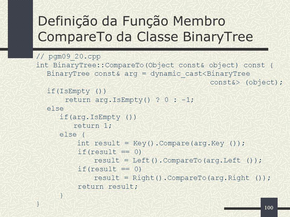 100 Definição da Função Membro CompareTo da Classe BinaryTree // pgm09_20.cpp int BinaryTree::CompareTo(Object const& object) const { BinaryTree const