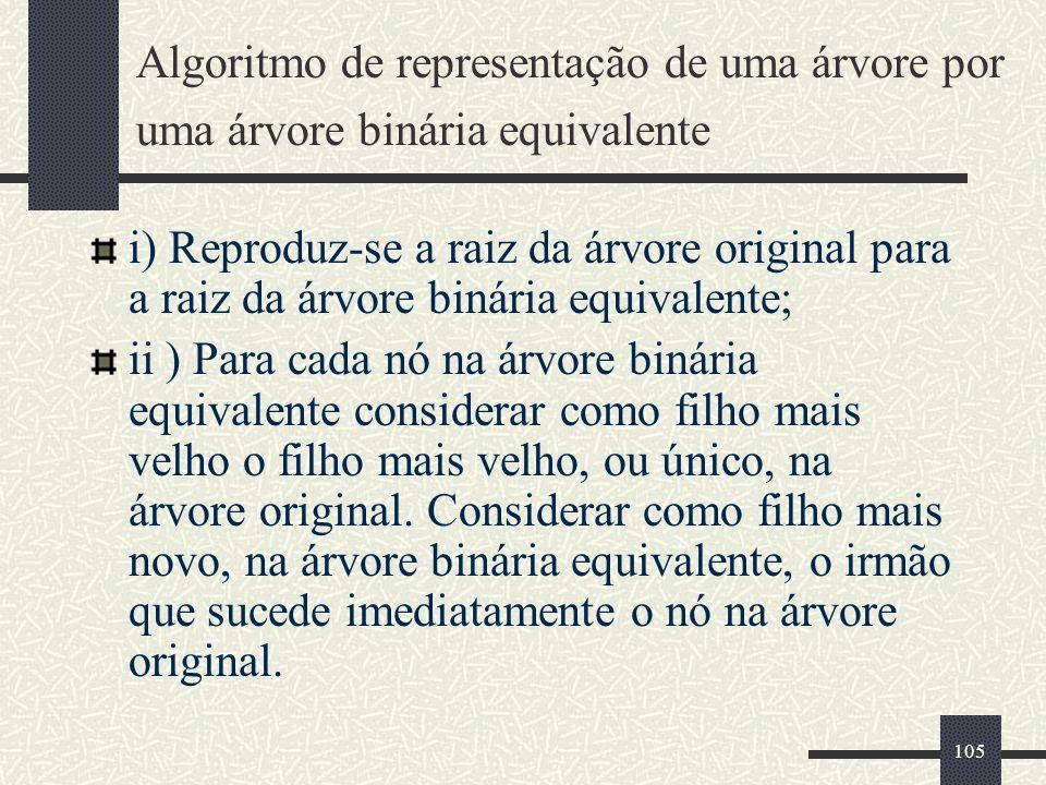 105 Algoritmo de representação de uma árvore por uma árvore binária equivalente i) Reproduz-se a raiz da árvore original para a raiz da árvore binária
