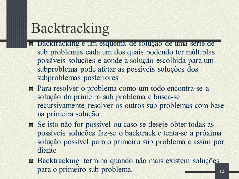 12 Backtracking Backtracking é um esquema de solução de uma série de sub problemas cada um dos quais podendo ter múltiplas possíveis soluções e aonde