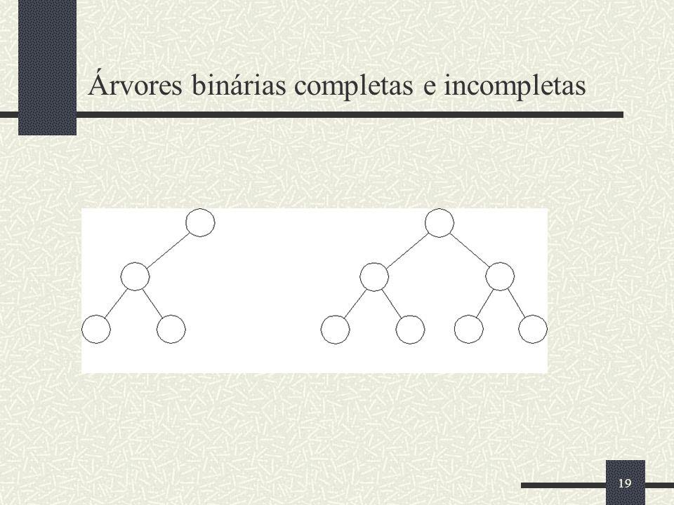 19 Árvores binárias completas e incompletas