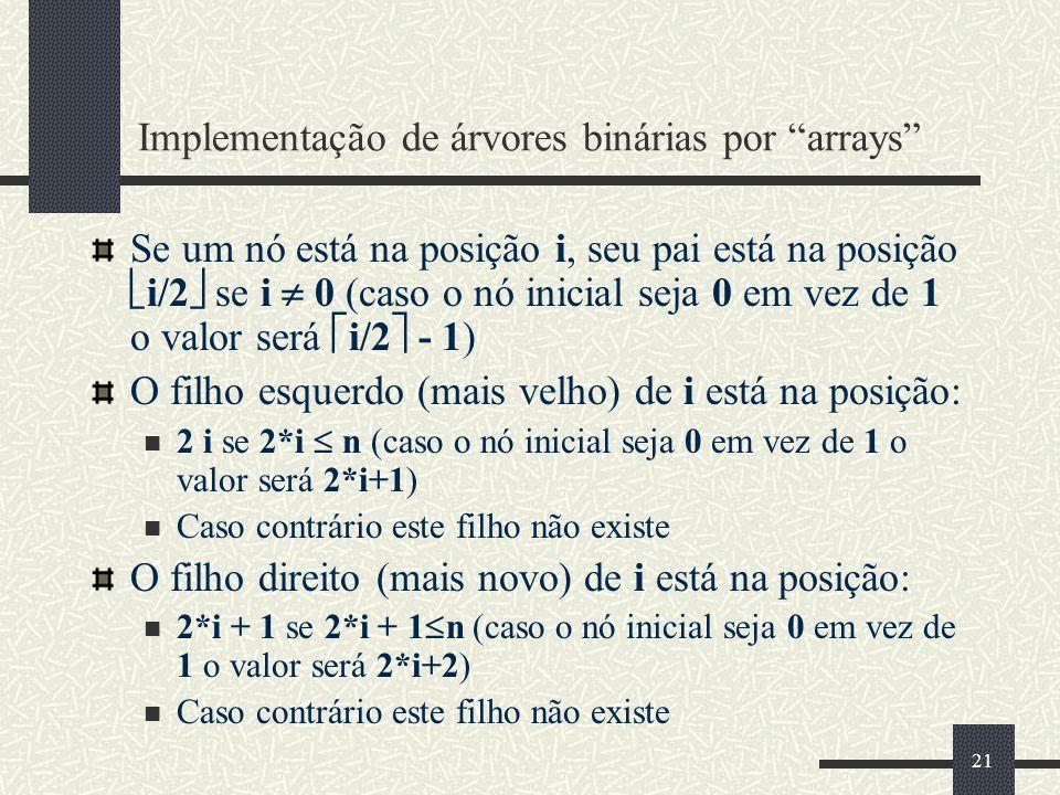 21 Implementação de árvores binárias por arrays Se um nó está na posição i, seu pai está na posição i/2 se i 0 (caso o nó inicial seja 0 em vez de 1 o