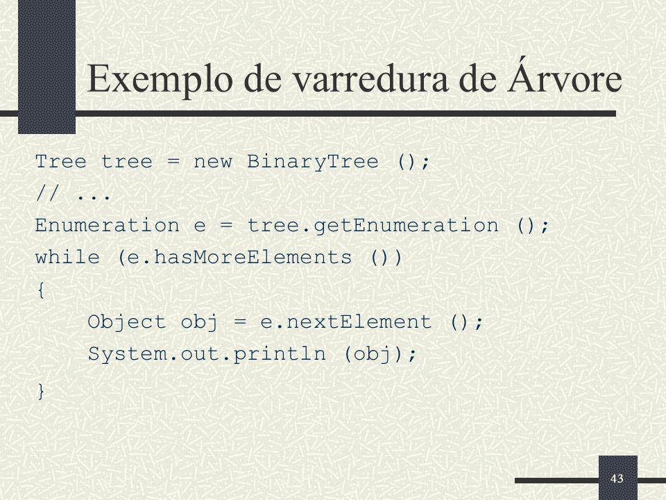 43 Exemplo de varredura de Árvore Tree tree = new BinaryTree (); //... Enumeration e = tree.getEnumeration (); while (e.hasMoreElements ()) { Object o