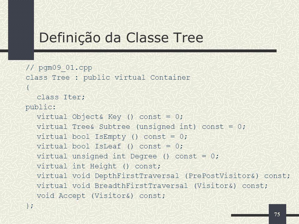 75 Definição da Classe Tree // pgm09_01.cpp class Tree : public virtual Container { class Iter; public: virtual Object& Key () const = 0; virtual Tree