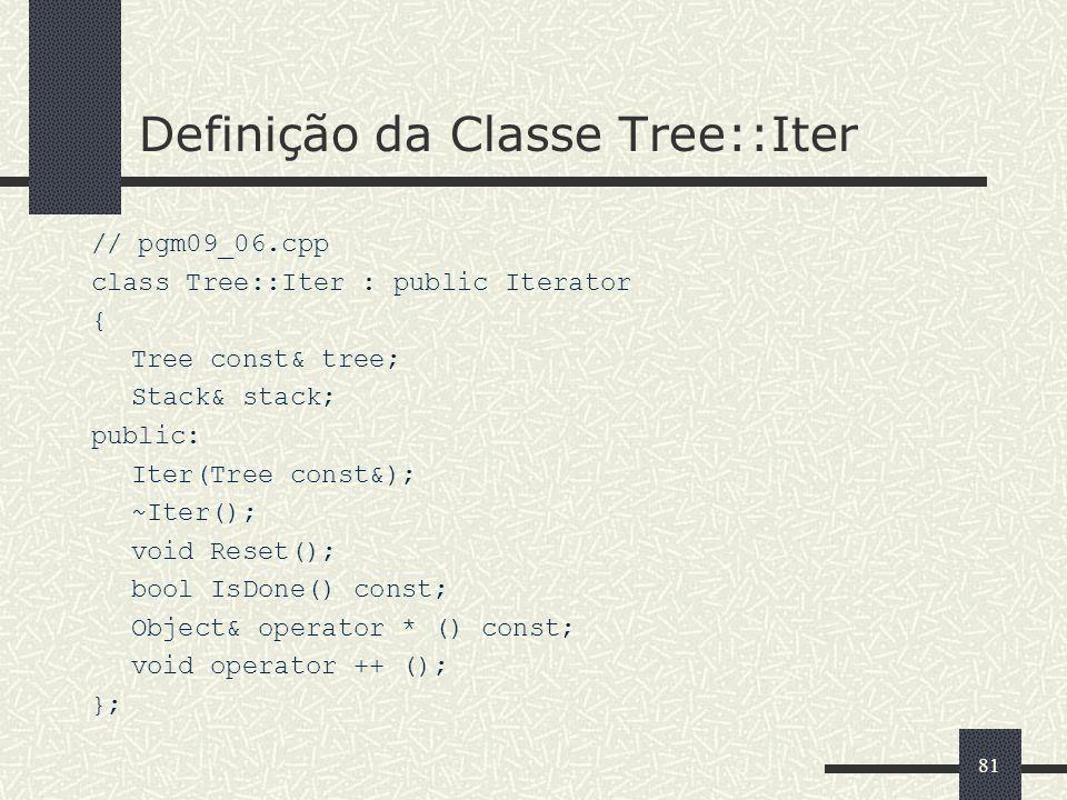 81 Definição da Classe Tree::Iter // pgm09_06.cpp class Tree::Iter : public Iterator { Tree const& tree; Stack& stack; public: Iter(Tree const&); ~Ite