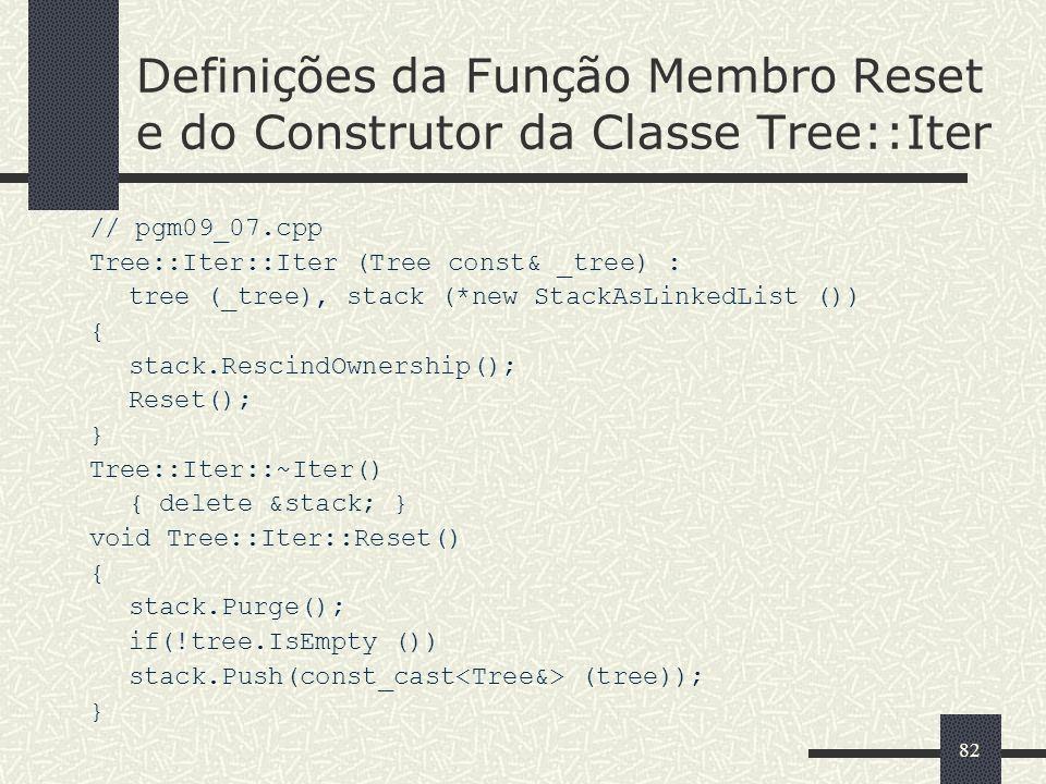 82 Definições da Função Membro Reset e do Construtor da Classe Tree::Iter // pgm09_07.cpp Tree::Iter::Iter (Tree const& _tree) : tree (_tree), stack (