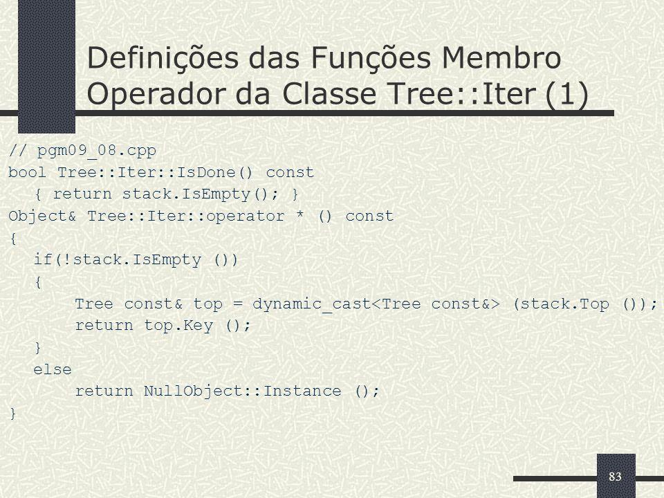 83 Definições das Funções Membro Operador da Classe Tree::Iter (1) // pgm09_08.cpp bool Tree::Iter::IsDone() const { return stack.IsEmpty(); } Object&
