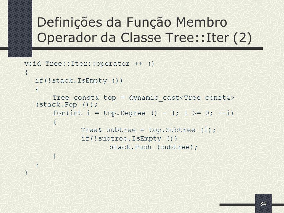 84 Definições da Função Membro Operador da Classe Tree::Iter (2) void Tree::Iter::operator ++ () { if(!stack.IsEmpty ()) { Tree const& top = dynamic_c