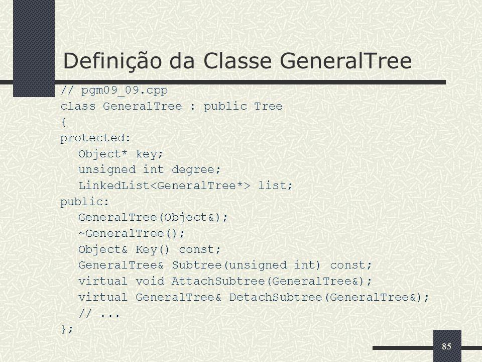 85 Definição da Classe GeneralTree // pgm09_09.cpp class GeneralTree : public Tree { protected: Object* key; unsigned int degree; LinkedList list; pub
