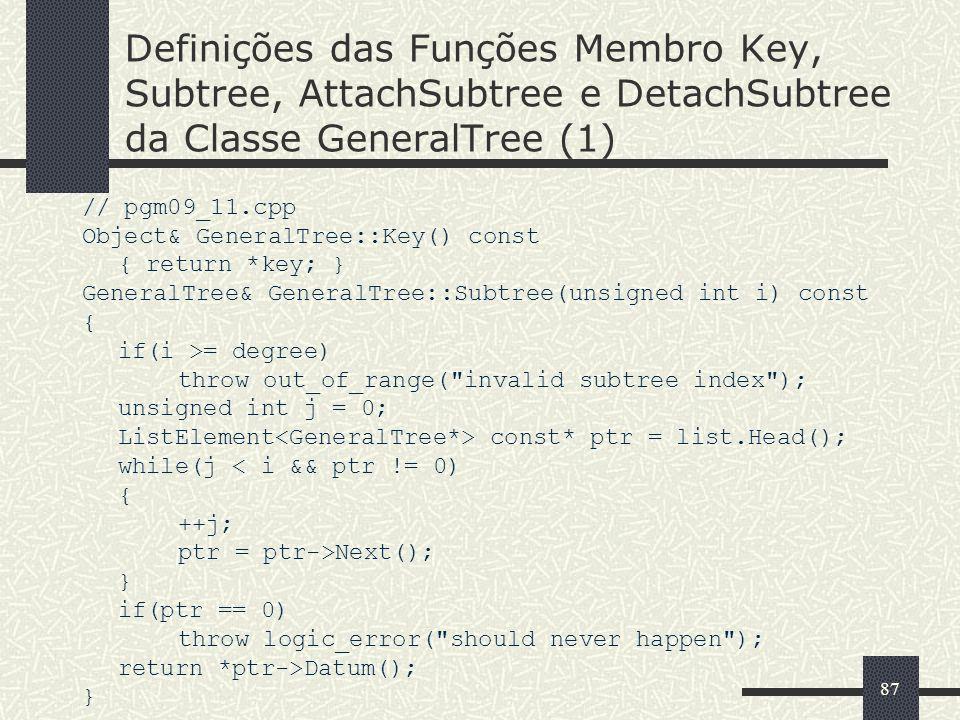 87 Definições das Funções Membro Key, Subtree, AttachSubtree e DetachSubtree da Classe GeneralTree (1) // pgm09_11.cpp Object& GeneralTree::Key() cons