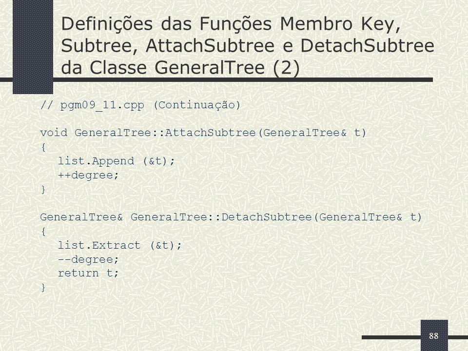 88 Definições das Funções Membro Key, Subtree, AttachSubtree e DetachSubtree da Classe GeneralTree (2) // pgm09_11.cpp (Continuação) void GeneralTree:
