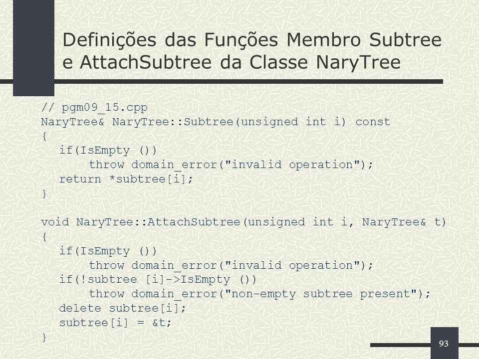 93 Definições das Funções Membro Subtree e AttachSubtree da Classe NaryTree // pgm09_15.cpp NaryTree& NaryTree::Subtree(unsigned int i) const { if(IsE