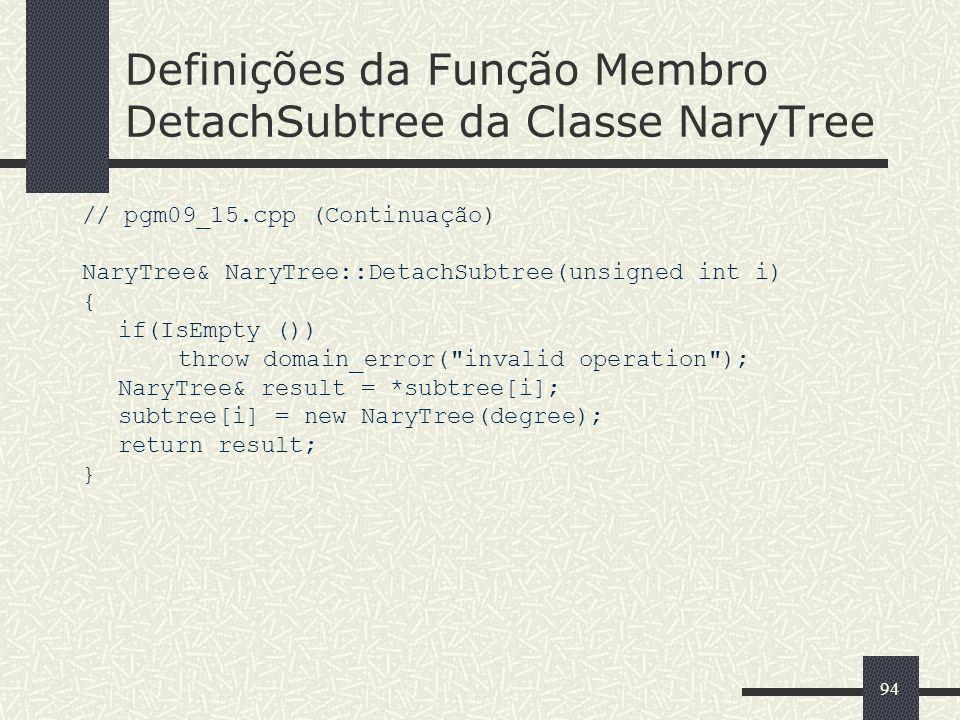 94 Definições da Função Membro DetachSubtree da Classe NaryTree // pgm09_15.cpp (Continuação) NaryTree& NaryTree::DetachSubtree(unsigned int i) { if(I