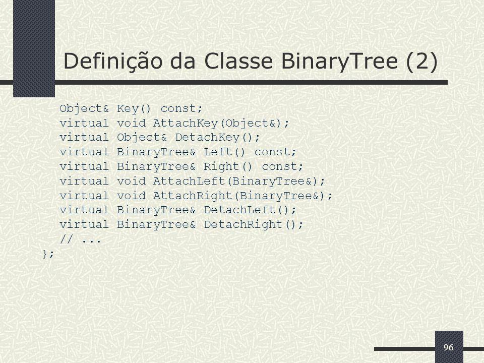 96 Definição da Classe BinaryTree (2) Object& Key() const; virtual void AttachKey(Object&); virtual Object& DetachKey(); virtual BinaryTree& Left() co
