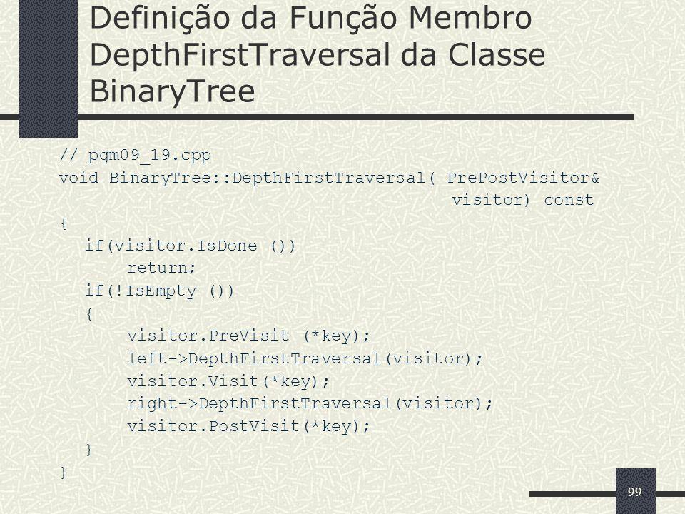 99 Definição da Função Membro DepthFirstTraversal da Classe BinaryTree // pgm09_19.cpp void BinaryTree::DepthFirstTraversal( PrePostVisitor& visitor)