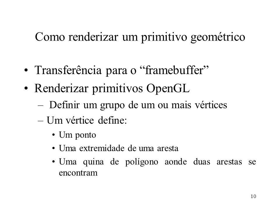 10 Como renderizar um primitivo geométrico Transferência para o framebuffer Renderizar primitivos OpenGL – Definir um grupo de um ou mais vértices –Um