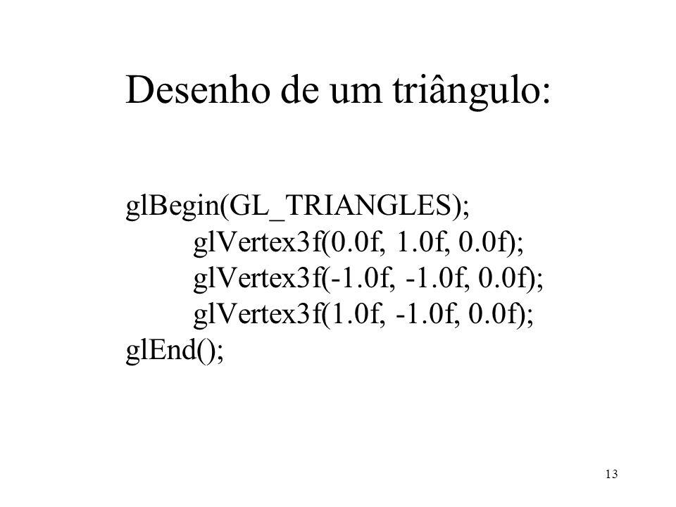 13 Desenho de um triângulo: glBegin(GL_TRIANGLES); glVertex3f(0.0f, 1.0f, 0.0f); glVertex3f(-1.0f, -1.0f, 0.0f); glVertex3f(1.0f, -1.0f, 0.0f); glEnd(