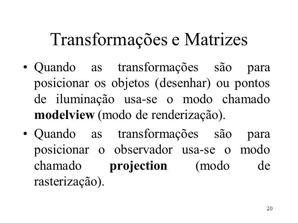 20 Transformações e Matrizes Quando as transformações são para posicionar os objetos (desenhar) ou pontos de iluminação usa-se o modo chamado modelvie