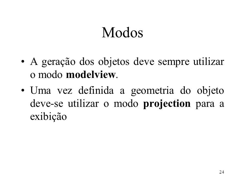 24 Modos A geração dos objetos deve sempre utilizar o modo modelview. Uma vez definida a geometria do objeto deve-se utilizar o modo projection para a