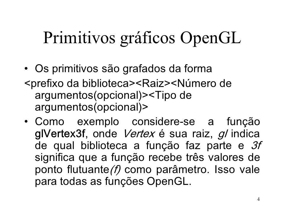5 Conteúdo de um programa OpenGL Um programa OpenGL deve conter –Montagem do contexto –Função de renderização (especificar nome) glutDisplayFunc – Função de Reshape(especificar nome) glutReshapeFunc –Função principal que chama os demais e pode conter a animação –Função laço de processamento (faz os callbacks)