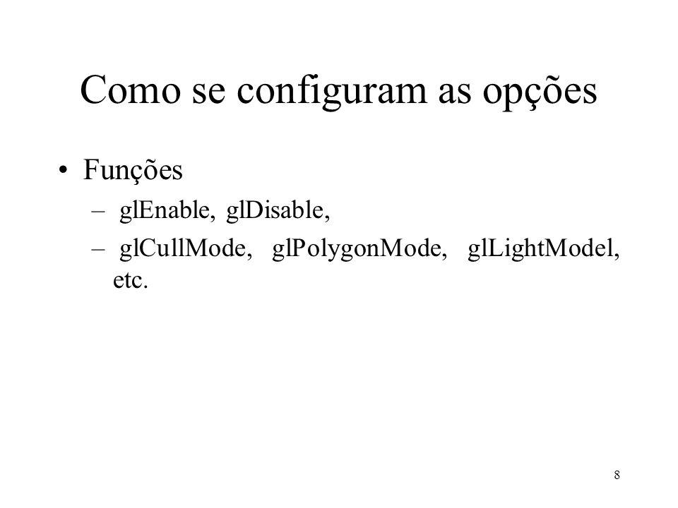 29 Exemplo completo de Visualização //Primeiramente a Projeção glMatrixMode( GL_PROJECCTION); glLoadIdentity(); gluPerspective(60, 1, 1, 100); gluLookAt(10,10,10,1,2,3,0,0,1) //Depois as transformações do objeto glMatrixMode(GL_MODELVIEW) glLoad Identity(); glTranslate(1,1,1); glRotatef(90, 1,0,0); DrawObject();