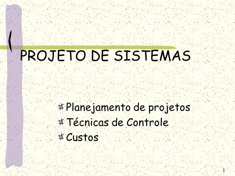 1 PROJETO DE SISTEMAS Planejamento de projetos Técnicas de Controle Custos