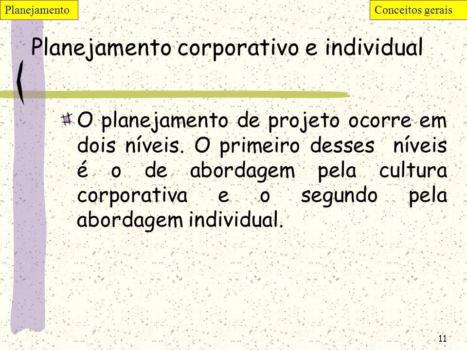 11 Planejamento corporativo e individual O planejamento de projeto ocorre em dois níveis. O primeiro desses níveis é o de abordagem pela cultura corpo