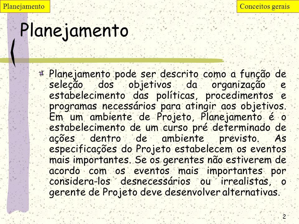 2 Planejamento Planejamento pode ser descrito como a função de seleção dos objetivos da organização e estabelecimento das políticas, procedimentos e p