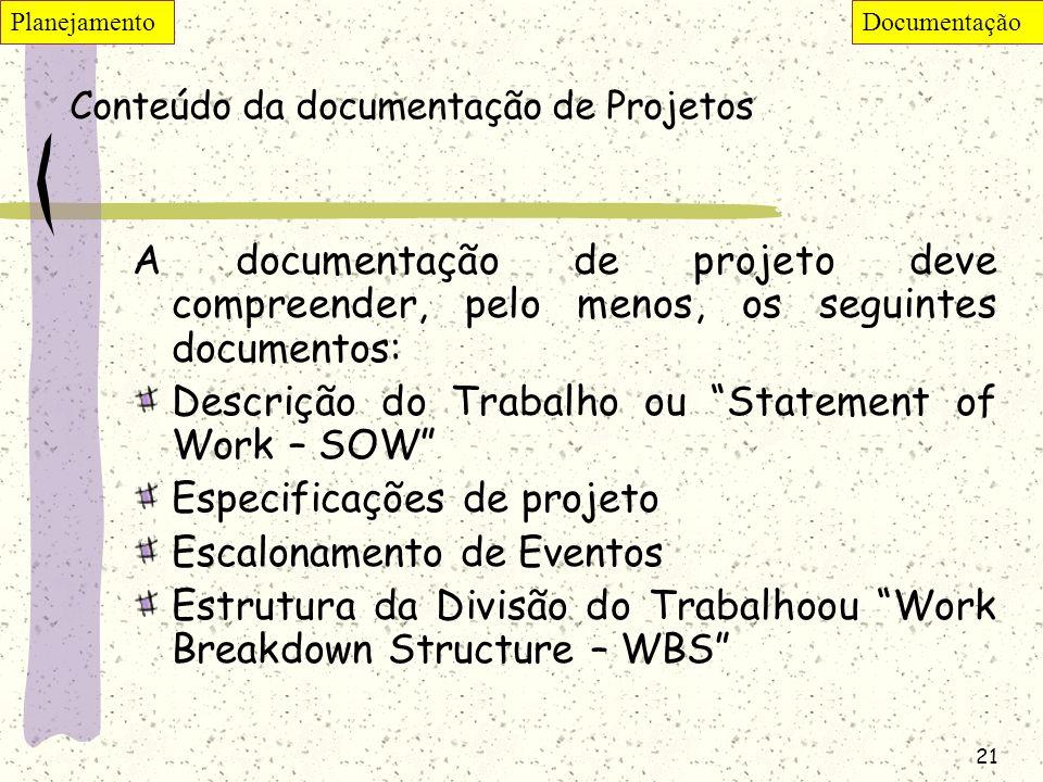 21 Conteúdo da documentação de Projetos A documentação de projeto deve compreender, pelo menos, os seguintes documentos: Descrição do Trabalho ou Stat