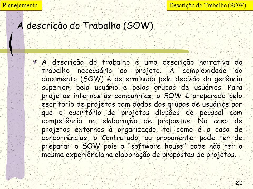22 A descrição do Trabalho (SOW) A descrição do trabalho é uma descrição narrativa do trabalho necessário ao projeto. A complexidade do documento (SOW