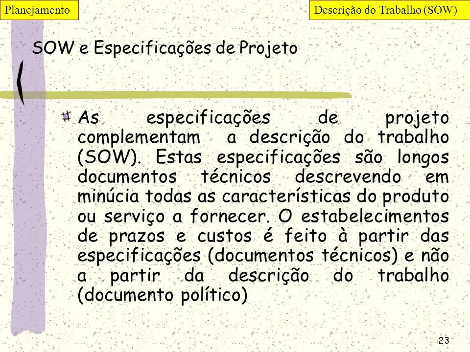23 SOW e Especificações de Projeto As especificações de projeto complementam a descrição do trabalho (SOW). Estas especificações são longos documentos