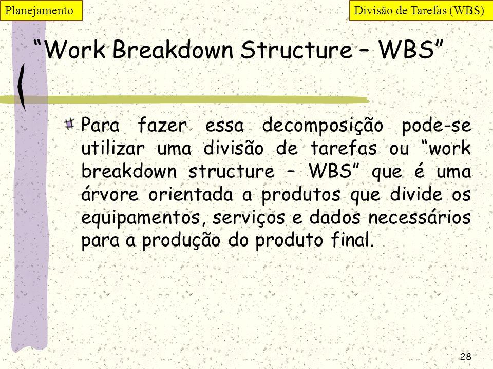 28 Work Breakdown Structure – WBS Para fazer essa decomposição pode-se utilizar uma divisão de tarefas ou work breakdown structure – WBS que é uma árv