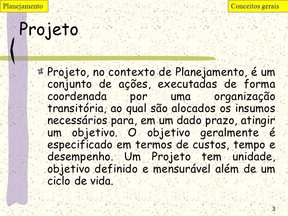 3 Projeto Projeto, no contexto de Planejamento, é um conjunto de ações, executadas de forma coordenada por uma organização transitória, ao qual são al