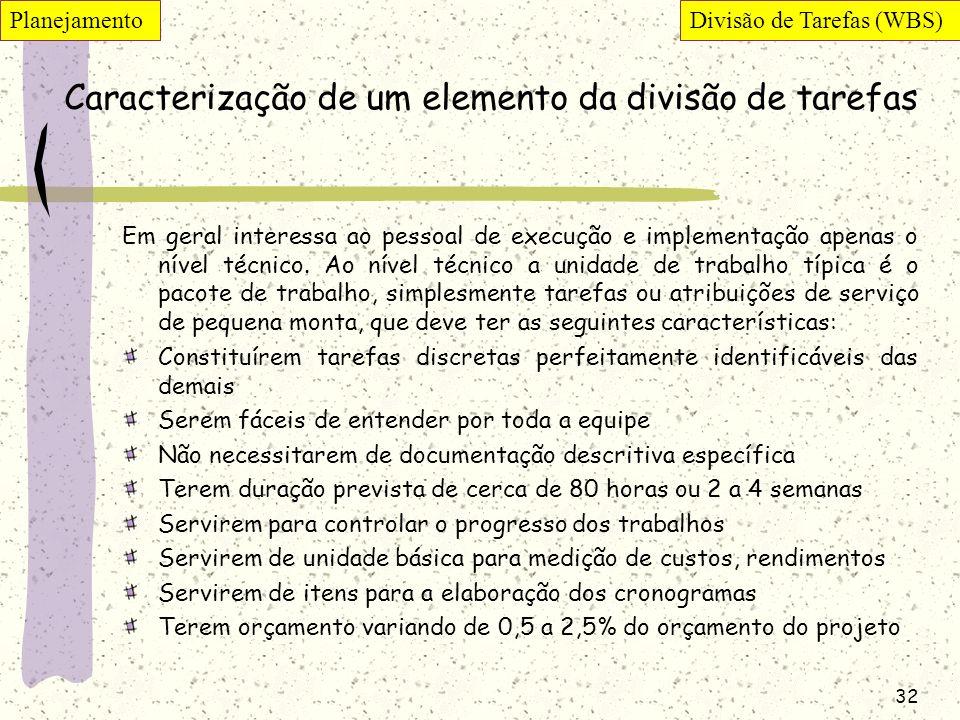 32 Caracterização de um elemento da divisão de tarefas Em geral interessa ao pessoal de execução e implementação apenas o nível técnico. Ao nível técn