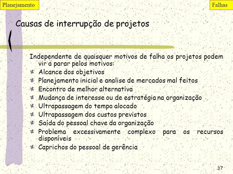 37 Causas de interrupção de projetos Independente de quaisquer motivos de falha os projetos podem vir a parar pelos motivos: Alcance dos objetivos Pla