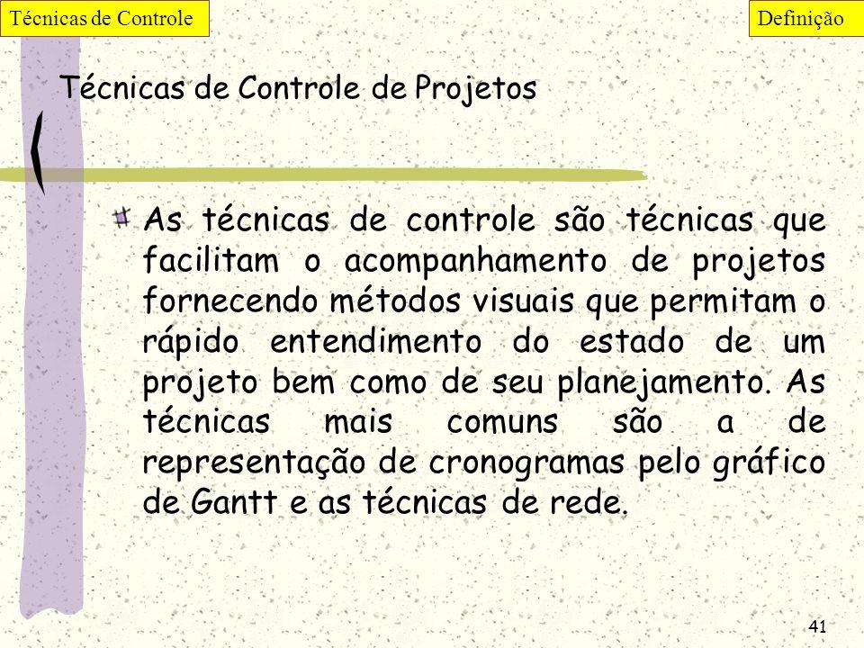 41 Técnicas de Controle de Projetos As técnicas de controle são técnicas que facilitam o acompanhamento de projetos fornecendo métodos visuais que per
