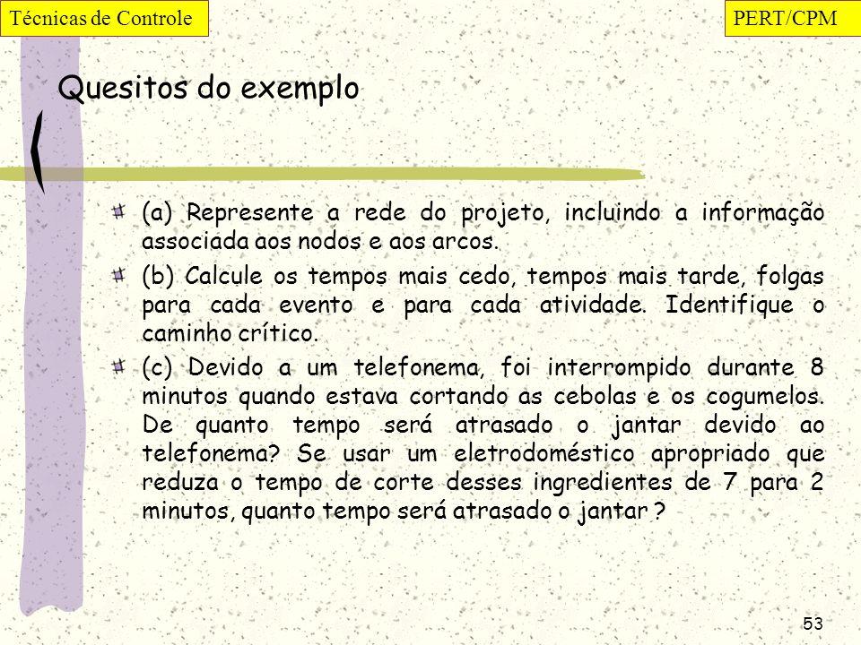 53 Quesitos do exemplo (a) Represente a rede do projeto, incluindo a informação associada aos nodos e aos arcos. (b) Calcule os tempos mais cedo, temp