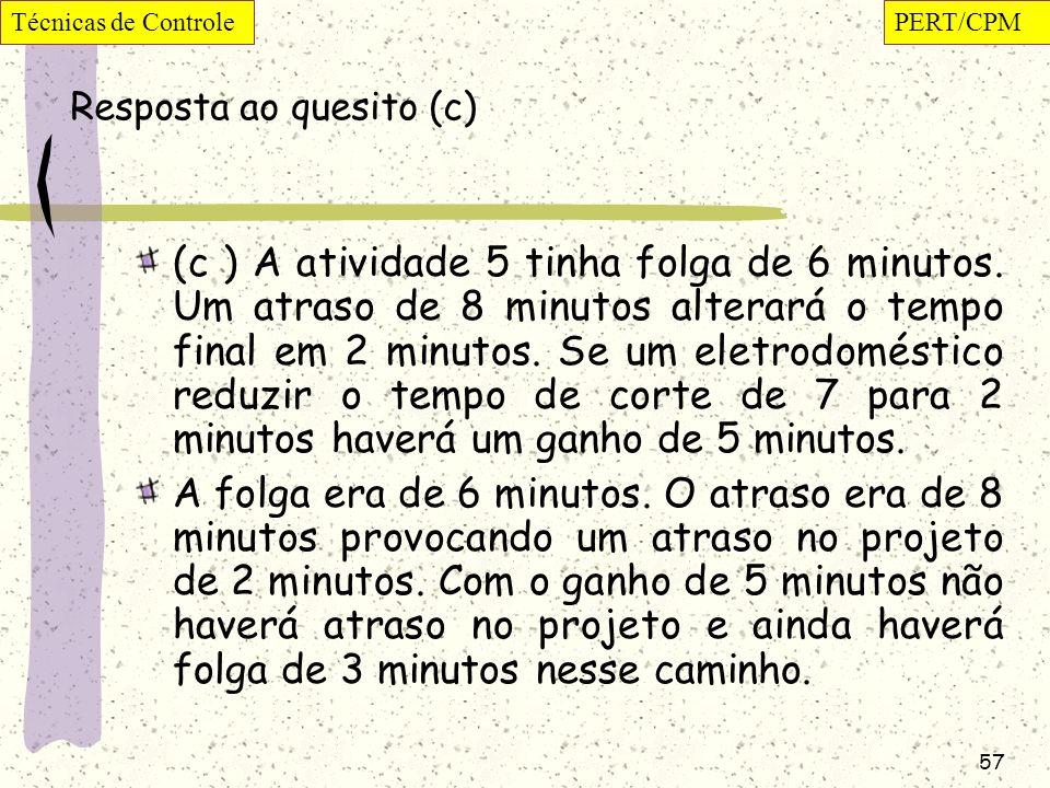 57 Resposta ao quesito (c) (c ) A atividade 5 tinha folga de 6 minutos. Um atraso de 8 minutos alterará o tempo final em 2 minutos. Se um eletrodomést