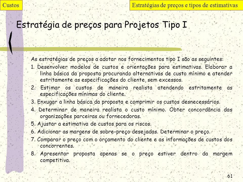 61 Estratégia de preços para Projetos Tipo I As estratégias de preços a adotar nos fornecimentos tipo I são as seguintes: 1. Desenvolver modelos de cu